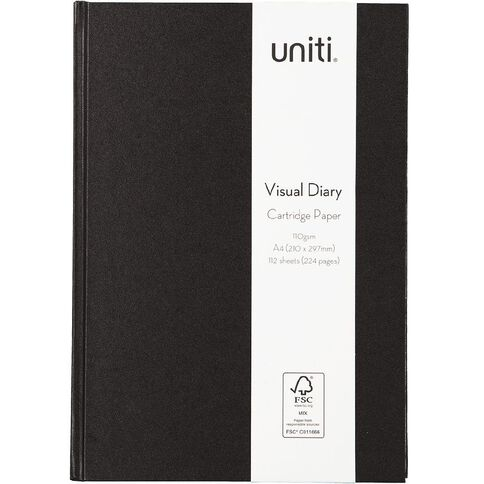 Uniti Visual Diary Hardback 110gsm 112 sheet Black A4