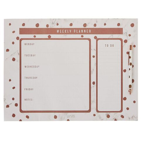 Uniti Rose Crush Weekly Planner with Pen