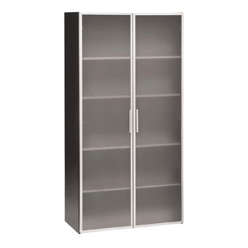 Jasper J Emerge Glass Doors Storage Cupboard 1800 White/Ironstone