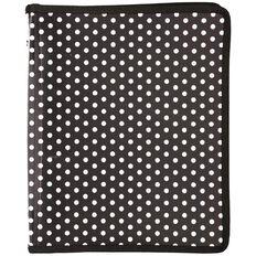 Uniti Black&Gold Zipper Folder Black with White Dots A4