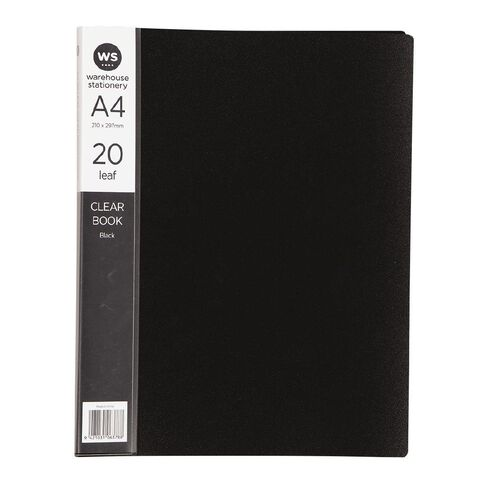 WS Clear Book 20 Leaf Black A4