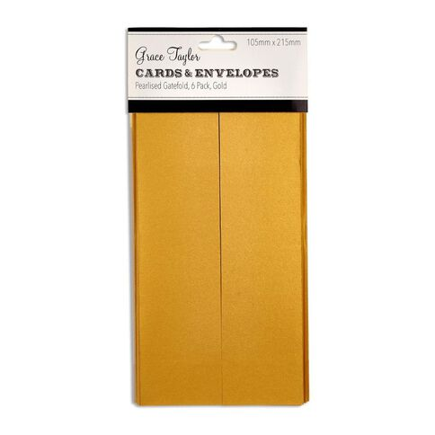 Grace Taylor Cards and Envelopes Gfold 105x215 Pearl Gold 6 Pack