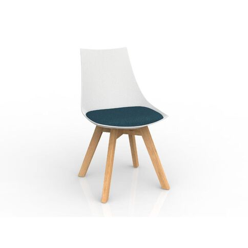 Luna White Deep Blue Oak Base Chair