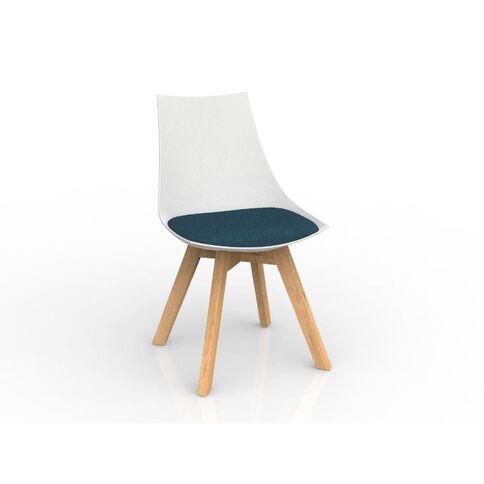 Luna White Deep Blue Oak Base Chair Blue