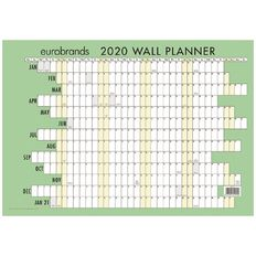Eurobrands 2020 Wall Planner Laminated 420mm x 600mm A2