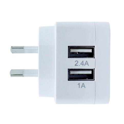 H+O USB Dual 3.4A Wall Charger White