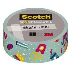 Scotch Washi Craft Tape 15mm x 10m Teal Junk Food