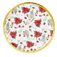 Wonderland Poinsettia Foil Plates 23cm 8 Pack