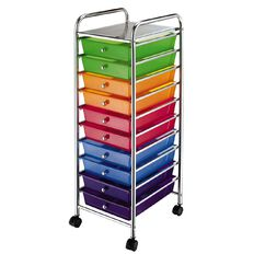 Workspace 10 Draw Chrome Trolley Multi-Coloured