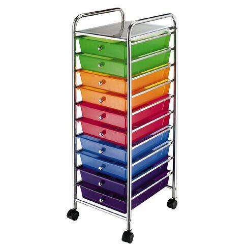 Workspace 10 Draw Chrome Trolley Multi-Coloured