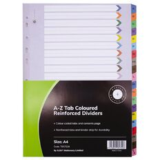 Office Supply Co A-Z Tab Coloured Reinforced Dividers