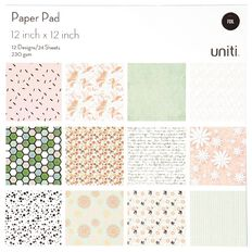 Uniti Paper Pad 24 Sheets 12 Designs Floral 12in x 12in
