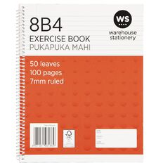 WS Exercise Book 8B4 7mm Ruled Spiral 50 Leaf Wiro Red