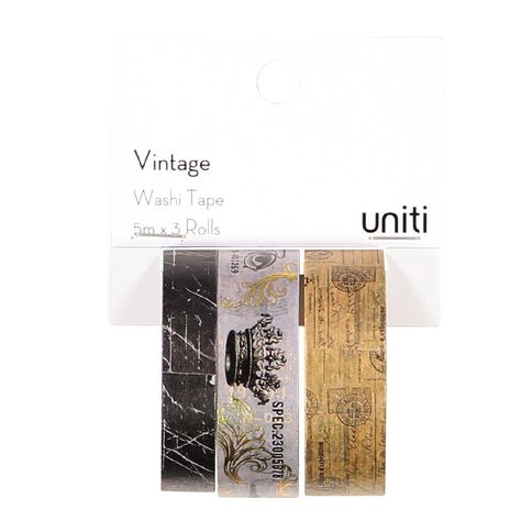 Uniti Vintage Washi Tape Foil 3 Pack