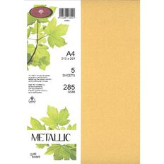 Direct Paper Metallic Board 285gsm 5 Pack Gold A4