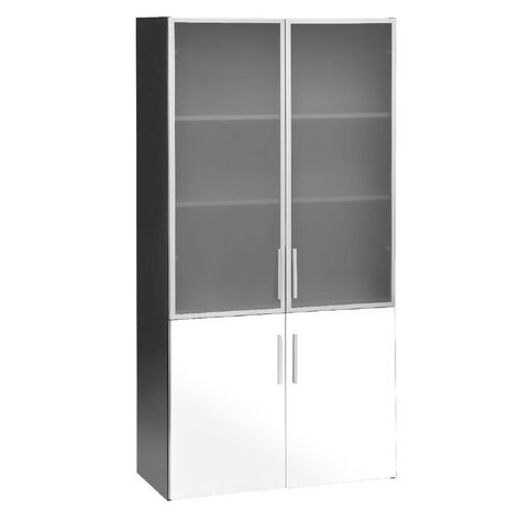 Jasper J Emerge Wood/Glass Doors Cupboard White/Ironstone