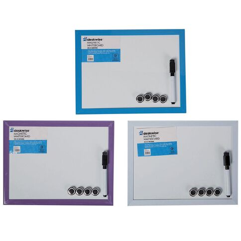 Deskwise Magnetic Whiteboard 215mm x 280mm Assorted