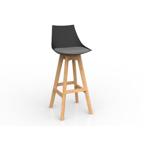 Luna Black Stone Grey Oak Base Barstool Grey