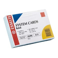 Esselte System Cards Lined 102 x 152mm 100 Pack Blue