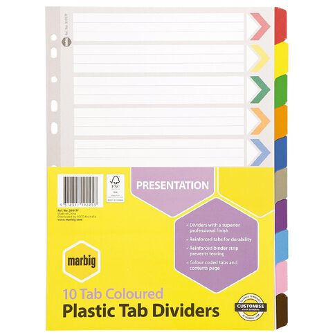 Marbig Dividers Plastic Reinforced Colour 10 Tab A4