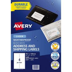 Avery Weatherproof Shipping Labels Laser Printers 99.1x139mm 40 Labels