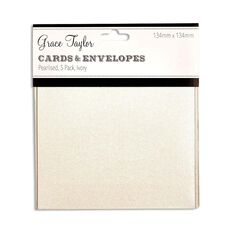 Grace Taylor Cards & Envelopes 134 x 134mm 250gsm 5 Pack Pearl Ivory