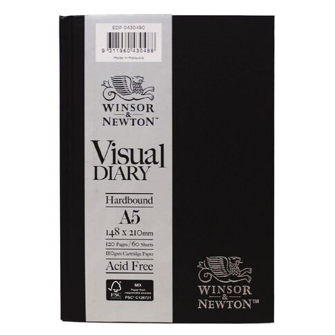 Winsor & Newton Visual Diary Hardcover 110gsm A5 60 Sheets Black