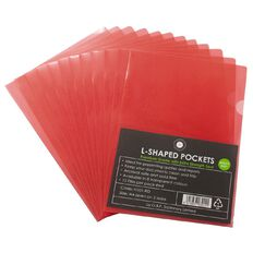 Office Supply Co A4 L-Shaped Pockets Red 12 Pack Red