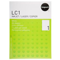 Impact Labels 20 Sheets A4/1 Sticker Sheet White