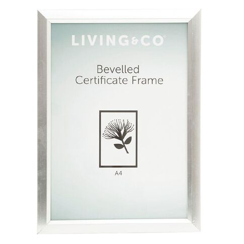 Living & Co Frame Certificate Bevelled Silver A4