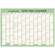 Eurobrands 2020 Wall Planner Non-laminated Large 700mm x 990mm