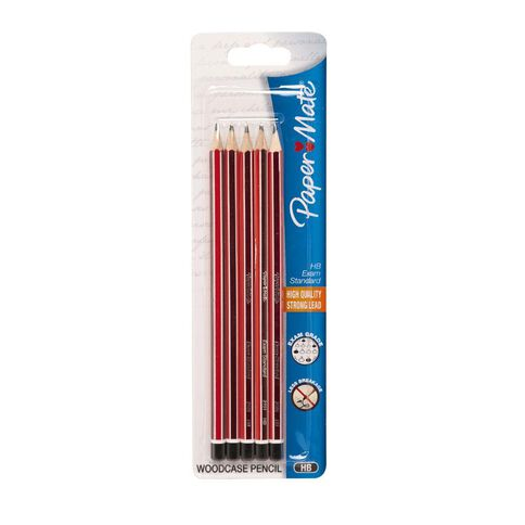 Paper Mate Woodcase HB Pencil Black 5 Pack