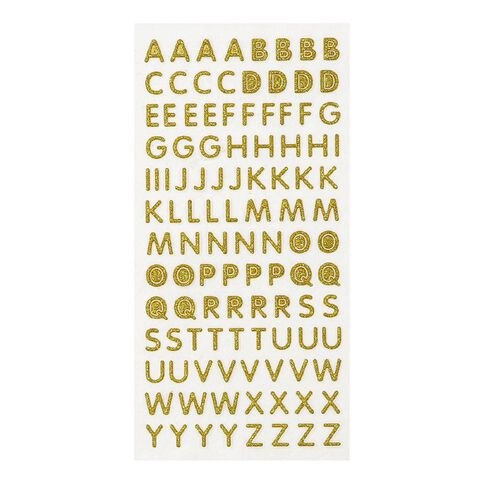 Uniti Glitter Foam Alphabet Stickers Gold