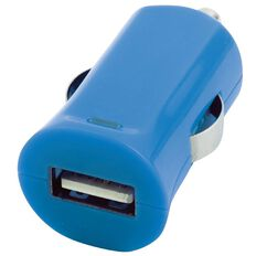 H+O Single USB Car Charger 2.4A Blue
