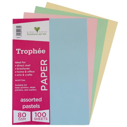 Trophee Paper 80gsm 100 Pack Pastels Assorted A4