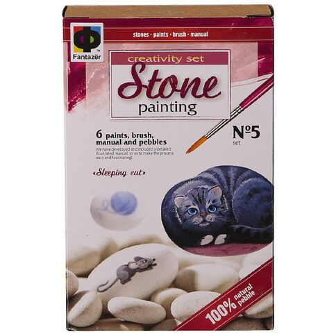 Fantazer Stone Painting Sleeping Cat