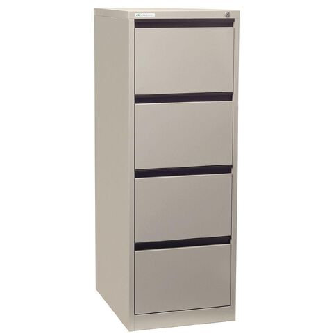 Precision Classic Filing Cabinet 4 Drawer Silver Grey