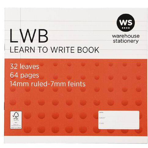 WS Exercise Book Learn To Write 7mm Ruled 32 Leaf Red