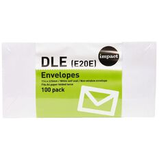 Impact Envelope Dle Seal 100 Pack White