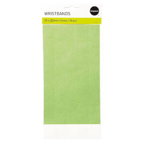 Impact Wristbands Green 50 Pieces