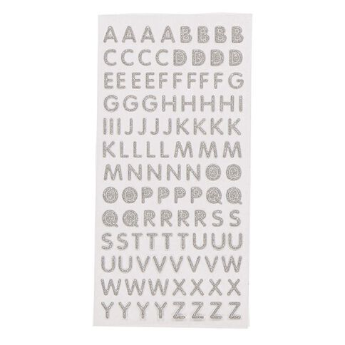 Uniti Glitter Foam Alphabet Stickers Silver
