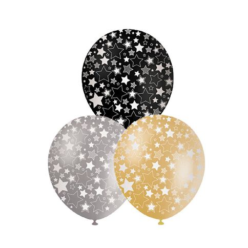 Artwrap Party Balloons Printed Stars Formal 10 Pack