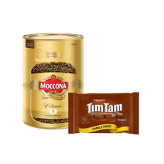 Buy 1 Moccona  Instant Coffee 500g Tin, get 1 Arnott's Tim Tam Biscuits 330g for FREE