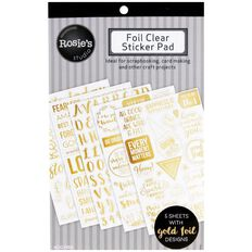 Rosie's Studio Foil Clear Sticker Pad 5 Page Multi-Coloured