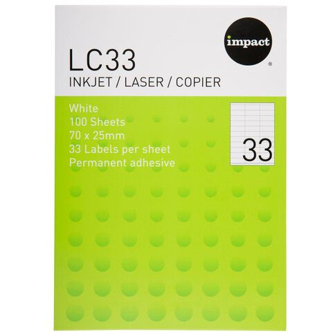 Impact Labels 100 Sheets A4/33 White