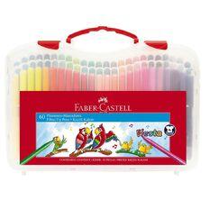 Faber-Castell Fiesta Fibre-tip Pens Plastic Case of 60