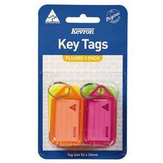 Kevron Key Tags 4 Pack Fluoro