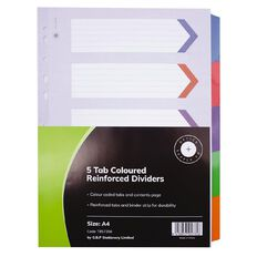Office Supply Co 5 Tab Coloured Reinforced Dividers