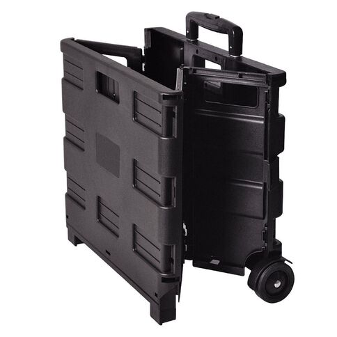 Workspace Foldable Crate With Trolley Black 60L