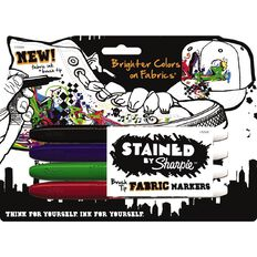 Sharpie Sharpie Stained Fabric Markers 4 Pack Assorted Multi-Coloured